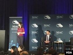 سخنرانی الهام خاتمی و جمال عبدی از اعضای شورای ملی ایرانیان آمریکا