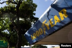The Goodyear logo is seen at a tire workshop in Caracas, Venezuela, Dec. 10, 2018.