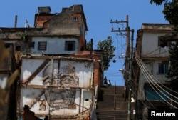 Graffiti are seen on a building in the Morro da Providencia slum in Rio de Janeiro, Nov. 29, 2012.