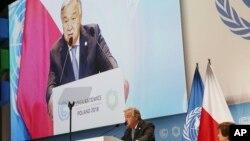 聯合國秘書長古特雷斯在氣候會議上發表講話
