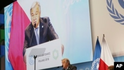 U.N. Secretary General Antonio Guterres delivers a speech WLduring the opening of COP24 UN Climate Change Conference 2018 in Katowice, Poland, Dec. 3, 2018.