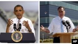美國總統奧巴馬和共和黨總統候選人,前馬薩諸塞州州長羅姆尼(合成資料照片)