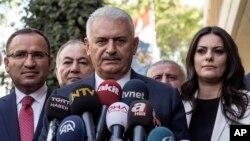 Turkish Prime Minister Binali Yildirim speaks to the media in Ankara, Turkey, Sept. 22, 2017.