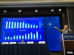 台湾中央研究院研究员朱雲汉宣布亚洲民主动态调查结果 (美国之音钟辰芳拍摄)