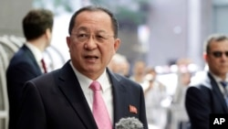 North Korea's Foreign Minister Ri Yong Ho speaks outside the U.N. Plaza Hotel, in New York, Sept. 25, 2017. (AP Photo/Richard Drew)
