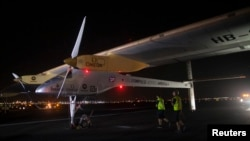 Solar Impulse is seen at JFK airport in New York, July 6, 2013.