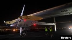 Solar Impulse is seen at JFK airport in New York, July 6, 2013.