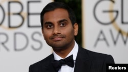 Actor Aziz Ansari arrives at the 73rd Golden Globe Awards in Beverly Hills, California, Jan. 10, 2016.