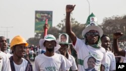 FILE - Supporters of the ruling party celebrate the results of the presidential elections in Lusaka, Zambia, Aug. 15, 2016.