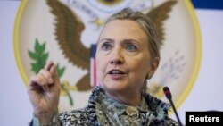 U.S. Secretary of State Hillary Clinton speaks at an event in Copenhagen, May 31, 2012.