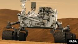 Umetnički prikaz rovera Kjuriositi na površini Marsa