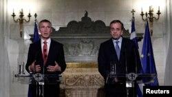 ေျမာက္အတၱလႏၱိတ္ စစ္စာခ်ဳပ္အဖြဲ႔ NATO ရဲ့ အႀကီးအကဲအသစ္ ျဖစ္တဲ့ Jens Stoltenberg နဲ႔ ဂရိဝန္ႀကီးခ်ဳပ္ သတင္းစာရွင္းလင္းပြဲ။ (ေအာက္တိုဘာ ၃၀၊ ၂၀၁၄)