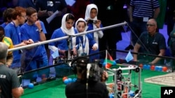 The Afghan all-girls team competes in the FIRST Global Challenge in Washington, July 17, 2017.