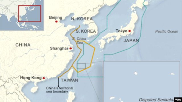 Air defense zones claimed by China and Japan