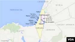 Peta wilayah Israel, Tepi Barat (The West Bank) dan wilayah Gaza, dan kota-kota di sekitarnya: Yerusalem, Haifa, Tel Aviv, Ashdod, Rishon LeZion, Gaza, Khan Yunis, Jabalia, dan Hebron.