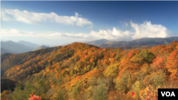The Great Smoky Mountains run through parts of Tennessee in the U.S. south.