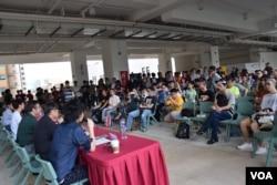 約有200人參與浸會大學學生會舉辦的六四論壇。(美國之音湯惠芸攝)