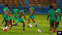 L'équipe du Zimbabwe à l'entrainement avant le match contre l'Egypte le 21 juin 2019.