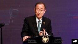 Sekretaris Jenderal PBB Ban Ki-moon dalam sebuah konferensi PBB di Bali baru-baru ini.