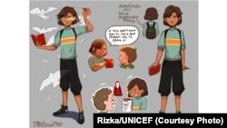 Cipta, karakter pahlawan super yang dibuat Rizka.