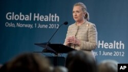 US Secretary of State Hillary Clinton speaks during the Global Health Conference at Oslo City Hall in Oslo, Norway, Friday June 1, 2012.