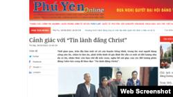 Báo Phú Yên đăng bài lên án các tín hữu Tin lành Đấng Christ trên địa bình huyện Sông Hinh.