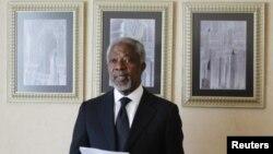 Kofi Annan, katibu mkuu wa zamani wa Umoja wa Mataifa na mjumbe maalumu katika kusuluhisha mzozo wa kisiasa nchini Syria, Machi 11, 2012