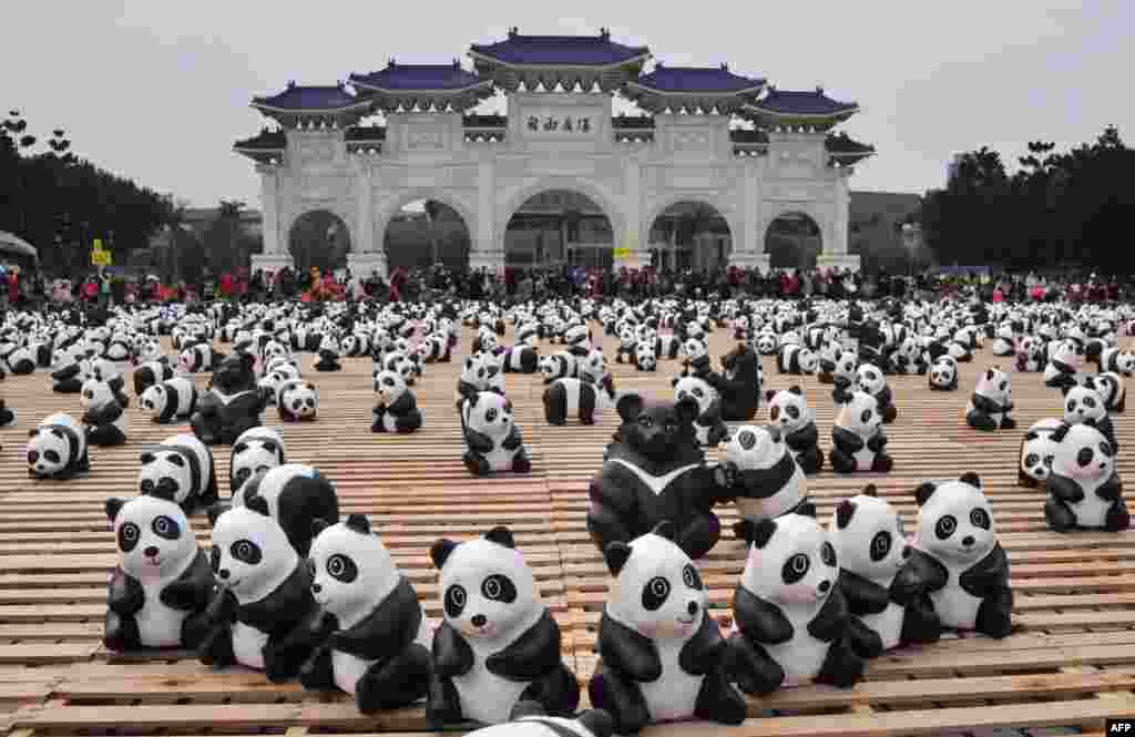 "Two hundred paper Formosan black bears are surrounded by paper pandas at an exhibition called ""Pandas on Tour"" at the Liberty Square of National Chiang Kai-shek Memorial Hall in Taipei, Taiwan."
