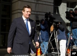 FILE - Paul Manafort, President Donald Trump's former campaign chairman, leaves the federal courthouse in Washington, Feb. 28, 2018.