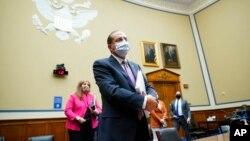 2020年10月2日美國衛生部長阿扎爾在華盛頓國會山眾議院冠狀病毒危機小組會議上。