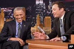 Prezident Barak Obama Jimmi Fellon olib boradigan tungi hajviy shouda, 2016