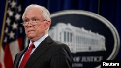 FILE - U.S. Attorney General Jeff Sessions is pictured at a news conference at the Department of Justice in Washington, Dec. 15, 2017. Sessions has ordered the creation of a task force to examine how his department can better combat cyberthreats.