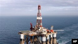 The semi-submersible oil drilling rig the Ocean Guardian under tow in British coastal waters, 22 Feb 2010