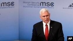 ຮອງປະທານາມິບໍດີ ສະຫະລັດ ທ່ານ Mike Pence ກ່າວທີ່ ກອງປະຊຸມ ຄວາມໝັ້ນຄົງ ຢູ່ນະອນ Munich ປະເທດເຢຍຣະມັນ.