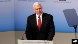 United States Vice President Mike Pence speaks during the Munich Security Conference in Munich, Germany, Feb. 18, 2017.