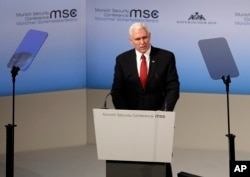 U.S. President Mike Pence speaks during the Munich Security Conference in Munich, Germany, Feb. 18, 2017. The annual weekend gathering is known for providing an open and informal platform to meet in close quarters.