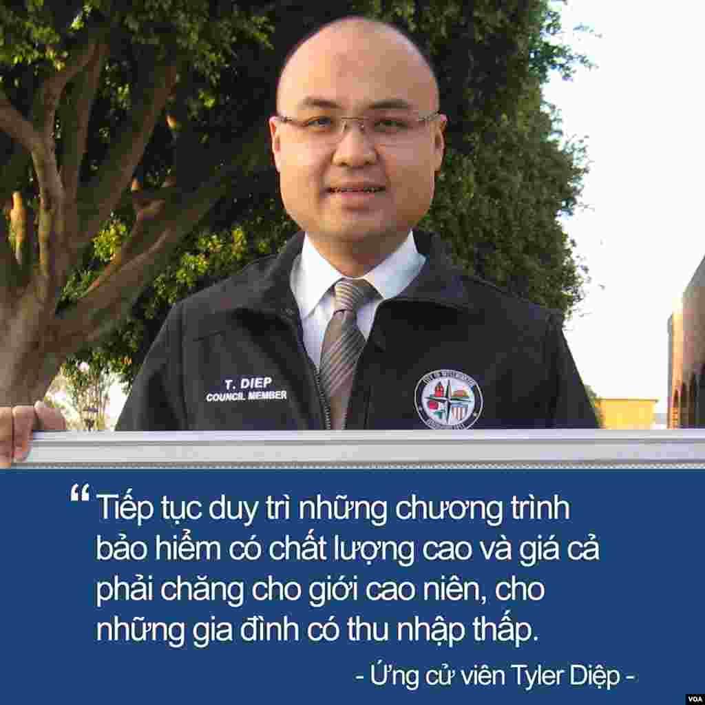 Nghị viên gốc Việt Tyler Diệp, 35 tuổi, Phó Thị trưởng thành phố Westminster, tranh chức dân biểu tiểu bang, Địa Hạt 72, bang California.