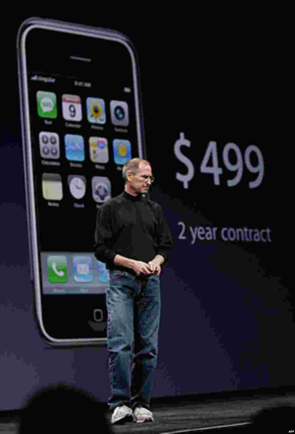 Steve Jobs demonstrates the new iPhone during his keynote address at MacWorld Conference & Expo in San Francisco, California, January. 9, 2007. (AP)