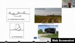 Pemaparan Taufiq Wira Buana terkait dampak likuefaksi yang menyebabkan tanah bergelombang dan kegagalan struktur tanah pondasi total dalam bencana alam gempa bumi 2018 di Sulteng. (Foto: screenshot)