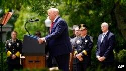 Tổng thống Donald Trump phát biểu trong buổi lễ ký sắc lệnh cải tổ ngành cảnh sát ngày 16/6/2020.