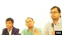 Dari kiri ke kanan: Koordinator KontraS Haris Azhar, Dedy Ahmad dari Solidaritas Indonesia untuk Komunitas ASEAN dan Sartikadi dari Hikmabudhi. (Foto: VOA)