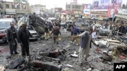 11일 파키스탄 중서부 쿠에타의 폭탄 테러 현장.