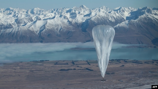 This handout photo taken on June 15, 2013 and received from Google on June 16 shows a Project Loon high altitude ballon sailing over Tekapo in southern New Zealand after its launch. Google revealed top-secret plans on June 15 to send balloons to the edge  of space with the lofty aim of bringing Internet to the two-thirds of the global population currently without web access.