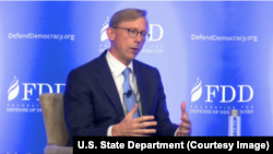 U.S. special representative for Iran, Brian Hook, speaks at a Foundation for Defense of Democracies conference in Washington on August 28, 2018.