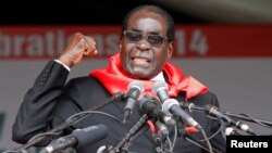 Zimbabwe President Robert Mugabe addresses supporters in Marondera about 80km ( 50 miles) east of the capital Harare, Feb. 23, 2014.