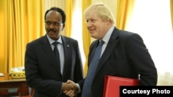 Somalia's President Mohamed Abdullahi Mohamed and UK Foreign Secretary Boris Johnson. Courtesy: Somali Government.