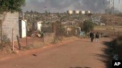 View of shanties in Soweto