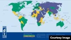 Свобода в мире 2014, карта Freedom House