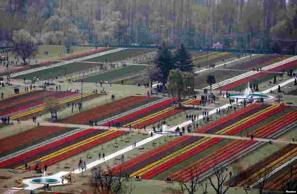 មនុស្សម្នាដើរនៅក្នុងសួនផ្កាមួយនៅក្នុងក្រុង Srinagar ប្រទេសឥណ្ឌា កាលពីថ្ងៃទី៣ ខែមេសា ឆ្នាំ២០១៧។