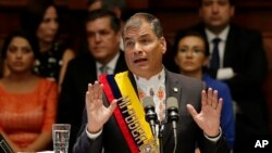 Presiden Ekuador Rafael Correa berpidato di Majelis Nasional di Quito, Ekuador. (Foto: Dok)